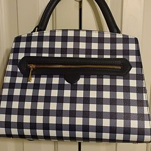 Navy and white gingham check satchel NWT